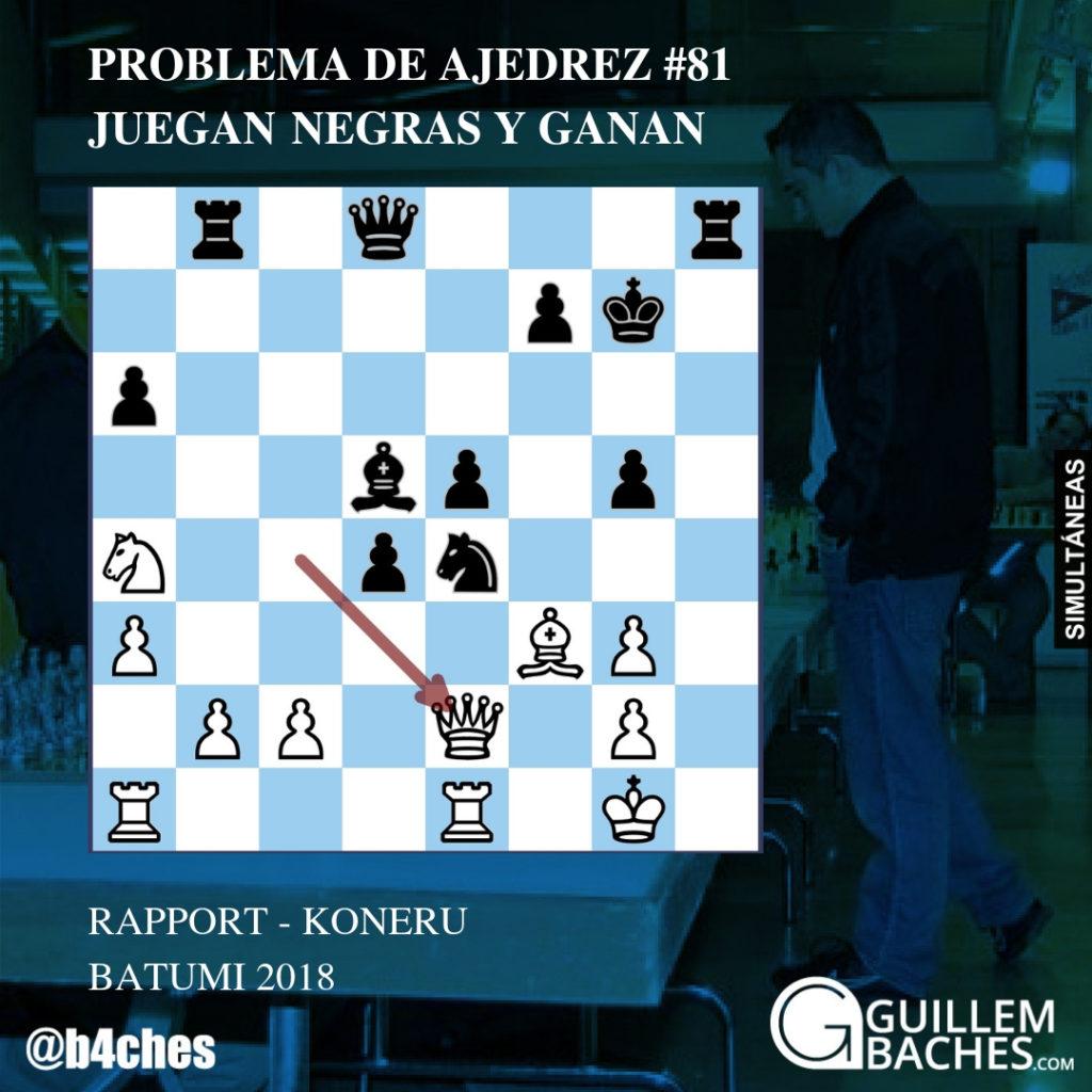 PROBLEMA DE AJEDREZ #79. JUEGAN NEGRAS Y DAN MATE EN 3 JUGADAS. BAULES - NAKAMURA. BATUMI 2018 9