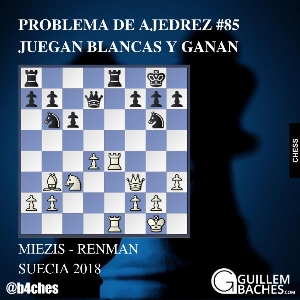 PROBLEMA DE AJEDREZ #85. JUEGAN BLANCAS Y GANAN. MIEZIS - RENMAN 6