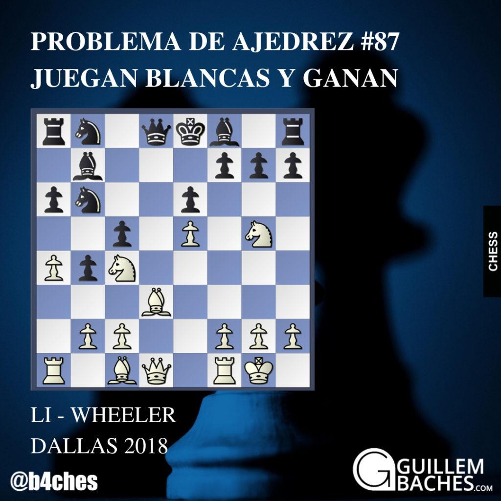 PROBLEMA DE AJEDREZ #87. JUEGAN BLANCAS Y GANAN. LI - WHEELER 4