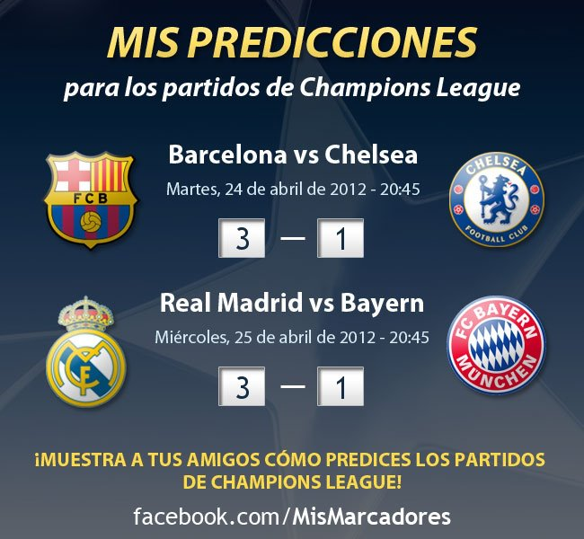 Semifinal Champions League. Barça - Chelsea y Madrid - Bayern 1