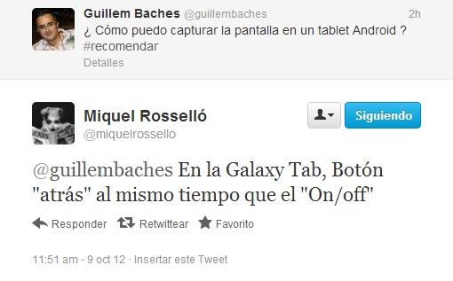 Cómo hacer screenshot o captura de pantalla en Samsung Galaxy Tab 1