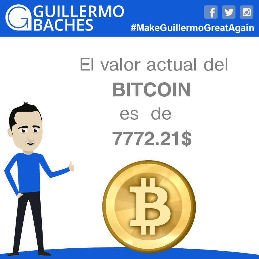 El valor actual del Bitcoin es de 7772.21$