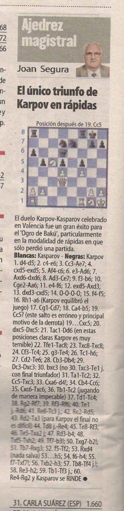 Karpov sólo pudo vencer una vez a Kasparov en las rápidas 4
