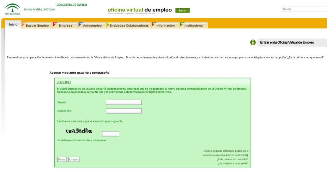 Renovar el paro en andaluc a for Oficina virtual paro