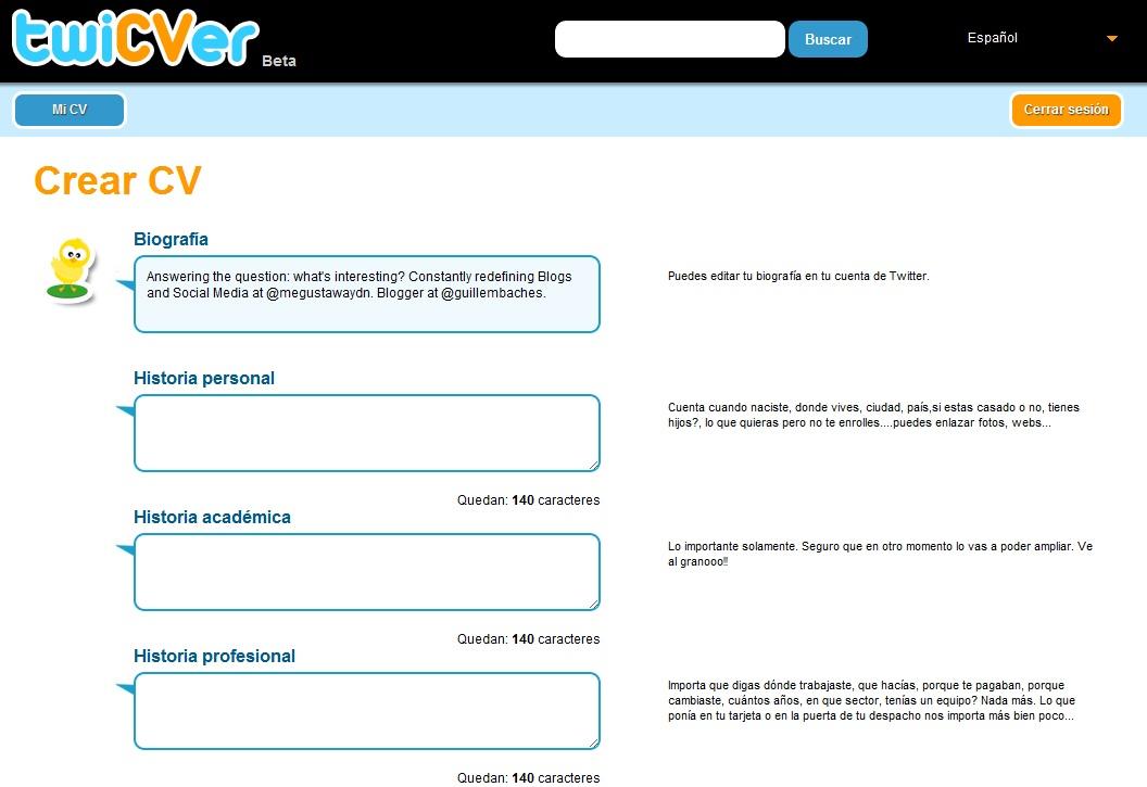 TwiCVer, publica tu currículum vitae en 10 tuits 1