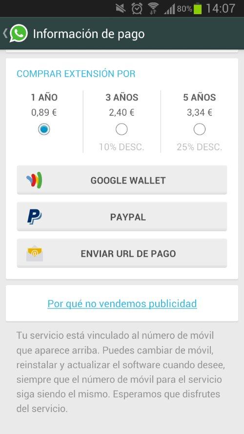 Cuanto cuesta Whatsapp para Android 4