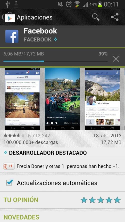 Facebook para Android cuenta con más de 100 millones de descargas 1
