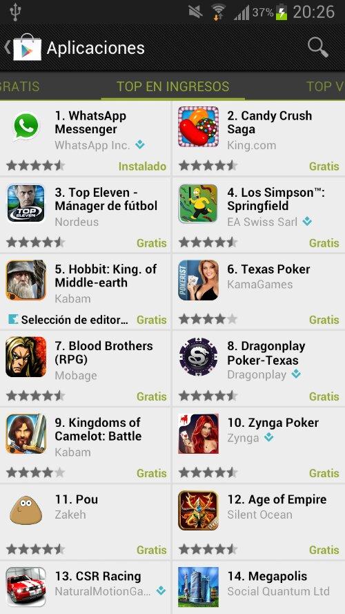 Whatsapp Messenger sigue en el Top ingresos de apps en Google Play 8
