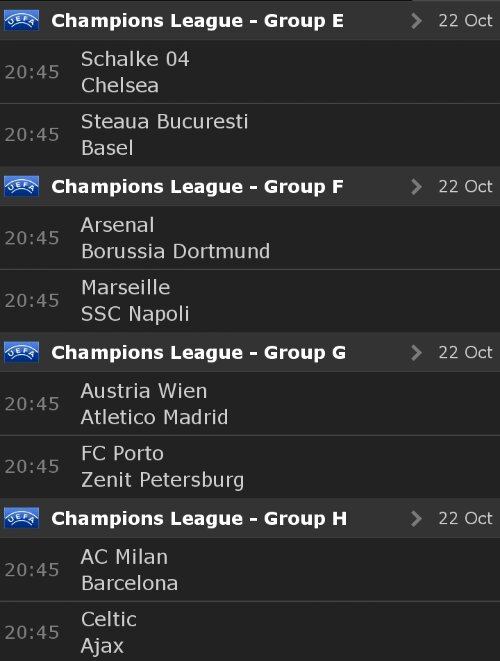 Partidos de hoy en Champions League. Tercera jornada de la fase de grupos. 2